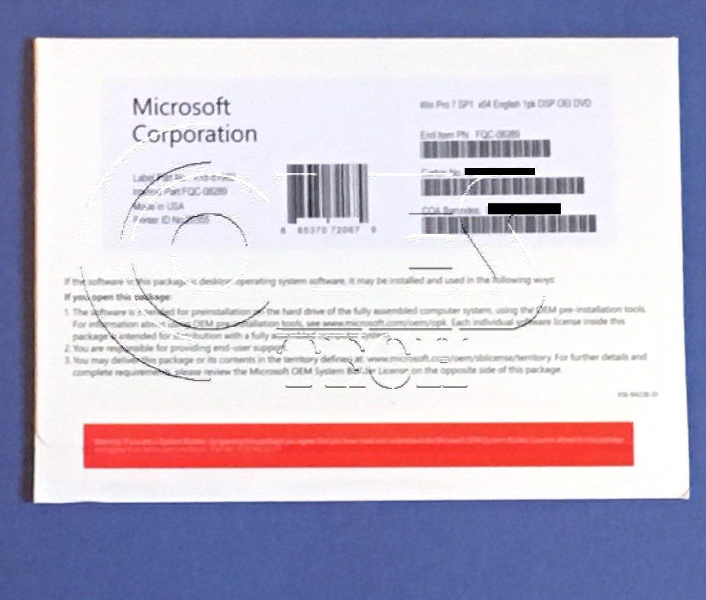 Windows 7 Professional SP1 64bit  System Builder DVD 1 Pack