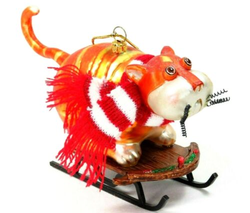"Orange Tabby Cat Christmas Ornament Blown Glass Sledding Winter Scarf 6.5"" Large"