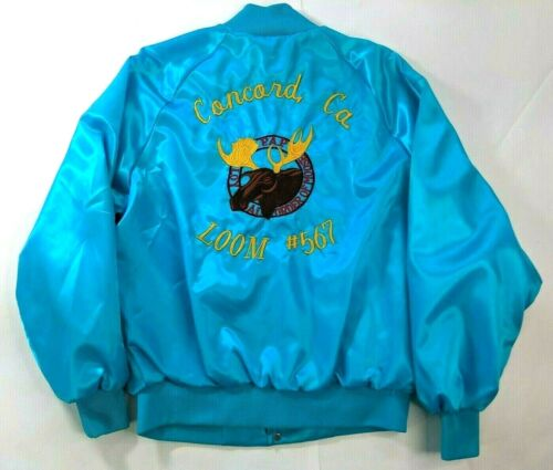 Vintage Mens Jacket Large PAP Loyal Order of Moose Concord, CA Blue Made in USA