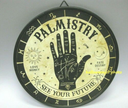 HALLOWEEN PALMISTRY Fortune Teller Palm Hand Metal Tin Sign Home Plaque Decor