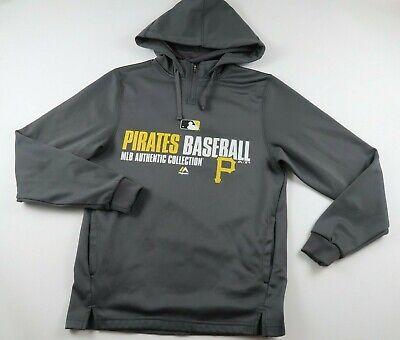 MLB Pittsburgh Pirates Mens Polyester LS Gray Hoodie Sweatshirt Majestic -