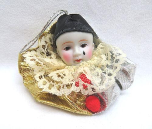 Porcelain Poirrot Clown Half Doll Christmas Ornament