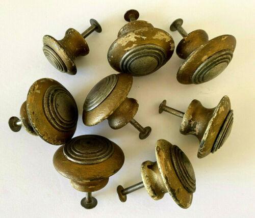 Lot of 8 Gold & Silver Art Deco Door Knob Wood & Metal Pulls
