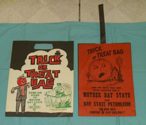 vintage Halloween BP BAY STATE PETROLEUM TRICK OR TREAT BAG lot x2