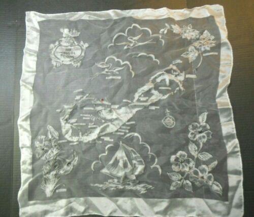 "The Bermuda Islands Scarf Map Souvenir White Sheer Polyester  28"" x 28"" Vintage"