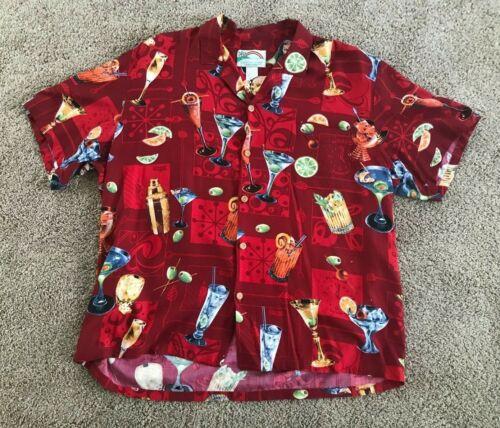 Vintage Paradise Found Hawaiian Aloha Mens Cocktails/Drinks Shirt Size XL