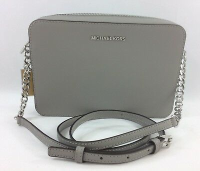 New Authentic Michael Kors Jet Set Item Large EW Leather Crossbody Bag Grey