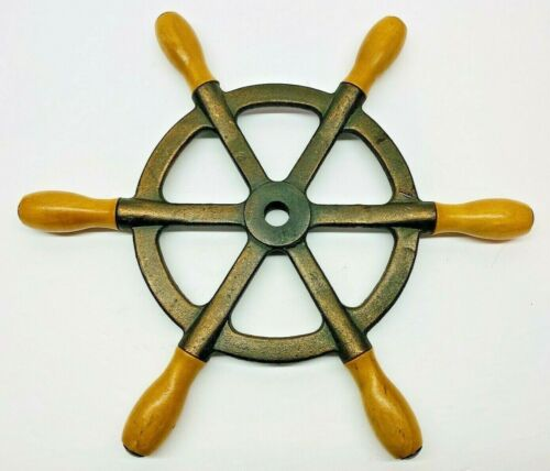 Vintage 6 Spoke Bronze Boat Wheel W/Wood Handles Nautical Decor 13.5""