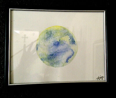 ARTIST SIGNED ORIGINAL Full MOON WATERCOLOR yellow blue painted during full moon