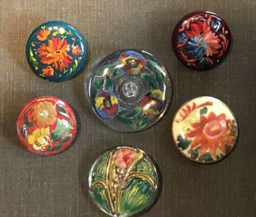 lot of 6 vintage COLORFUL SHOWY FLOWER BUTTONS-SATSUMA, REVERSE PAINTED