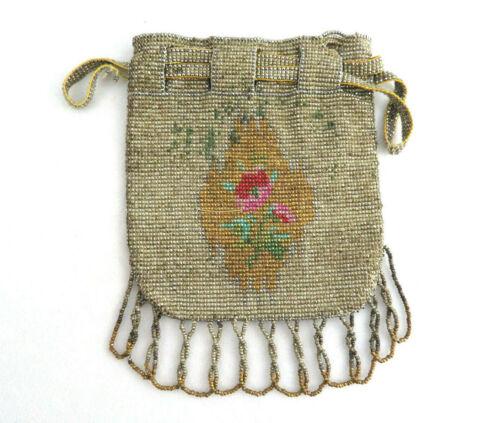 Antique French Cut Steel Beaded Mini Purse Handbag