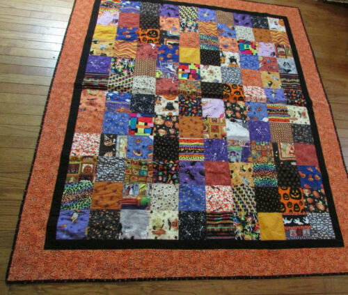 Halloween light weight quilt blanket variety fabric cat, ghost, witch, skeleton