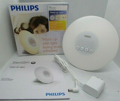 Philips HF3500/60 Wake-Up Light Therapy Alarm Clock Sunrise Simulation White NEW