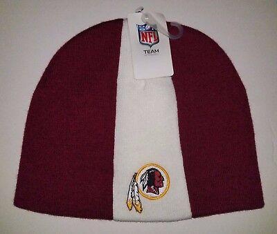 White Washington Hat - Washington Redskins NFL burgundy & white embroidered hat knit cuffless beanie