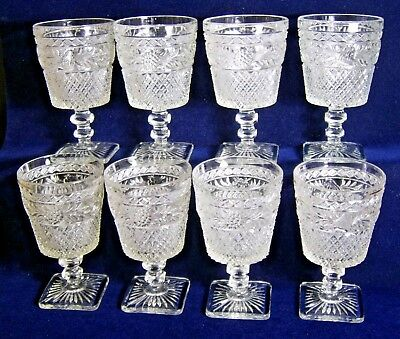 IMPERIAL GLASS OHIO  LEAF- WATER GOBLETS SET OF 8  W/ DIAMOND PATTERN C.1923 + (Imperial Glass Ohio Diamond)
