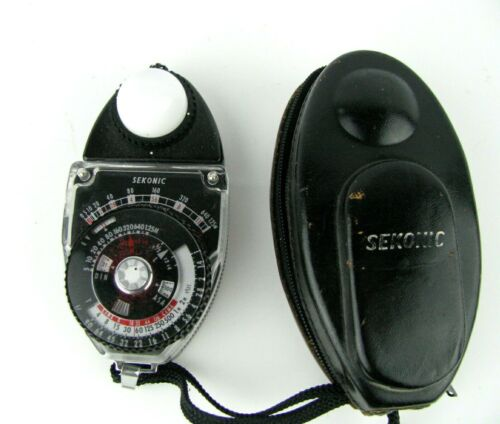 SEKONIC STUDIO DELUXE L-398 EXPOSURE JAPANESE  PHOTOGRAPHY LIGHT METER w/case