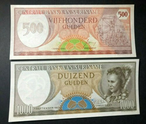 Suriname 500 & 1000 Gulden UNC Banknotes (pristine!)