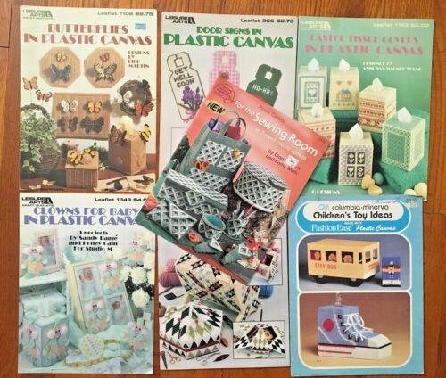 Lot of 7 Plastic Canvas Booklets Leisure Arts - Butterflies Clowns Baskets Toys