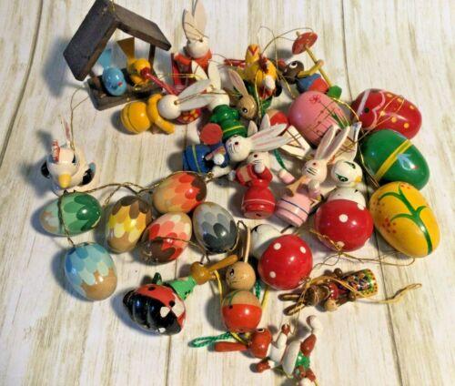 29 Vtg Wood Wooden Easter Bunny Rabbit Ornaments Egg Tree ERZGEBIRGE Germany