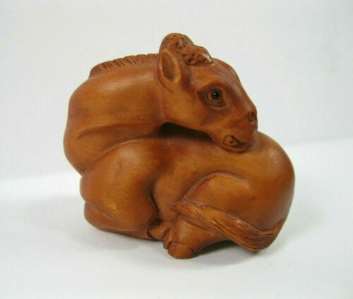 Netsuke Horse Japanese Boxwood Antique Hand Carved Strap Japan signed wood