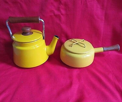 Vtg Dansk enemel Yellow Teapot & Fondue Pot set Kobenstyle collections