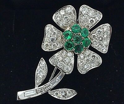 18K White Gold Flower Pin Brooch with Emerald & Round Baguette Diamonds 3.67CTW
