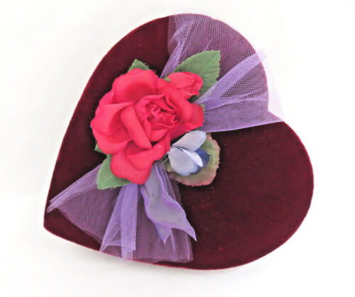 Vintage Red Velvet Heart Chocolate Candy Container Box