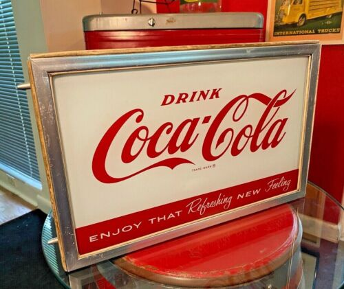 Coca Cola 1960s Glass-Metal Vending Machine Front Lighted Sign