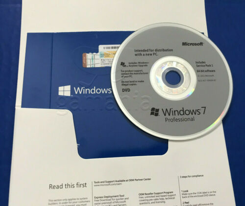 Microsoft Windows 7 Professional PRO 64Bit COA & DVD + *Server Computer*