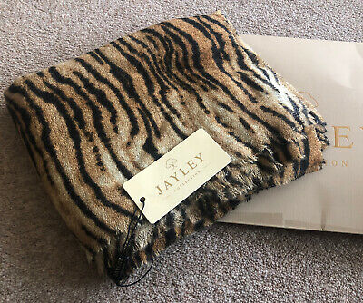 BNWT Jayley Cashmere Blend Scarf Wrap Tiger Animal Print 100% Genuine