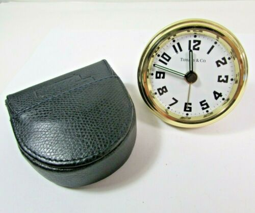Tiffany & Co Aviator Desk Alarm Clock Gold Working With Pouch