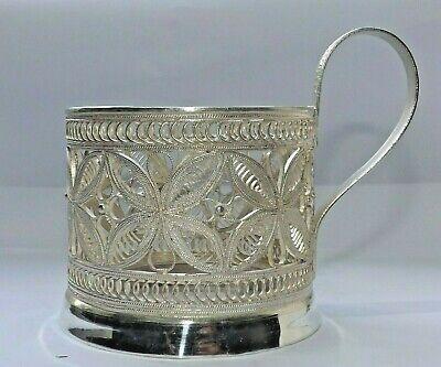 VINTAGE RUSSIAN, SOVIET SILVER PLATE FILIGREE TEA CUP, GLASS, MUG HOLDER c1950
