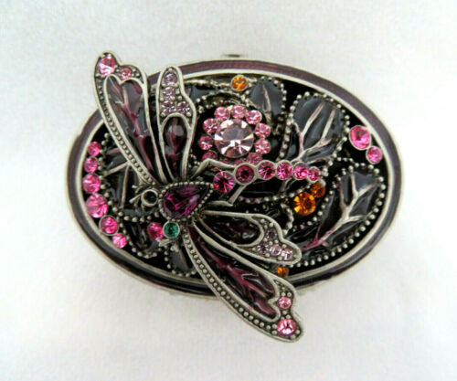 Rucinni Dragonfly Enameled & Jeweled Crystal Hinged Top Trinket Box
