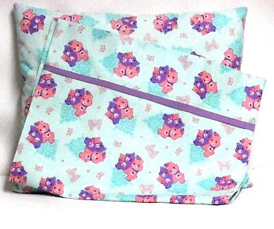 Care Bears Toddler Pillow and Pillowcase set on Aqua Cotton