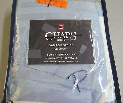 Chaps Damask Stripe Full Bedskirt Blue 15