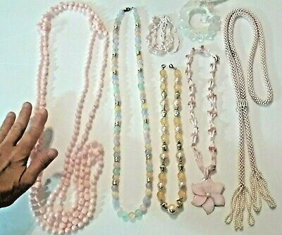 Large bulky beaded necklaces. glass swirl beads, cubes, pink shell flower + more - Wholesale Beaded Necklaces