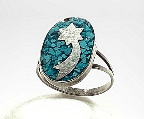 TAXCO Mexico Sterling Silver Shooting Star Ring w/Crushed Turquoise US Size 5.25