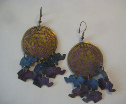 ELEPHANT Jewelry EARRINGS vintage large blue purple hooks wires miniature figure
