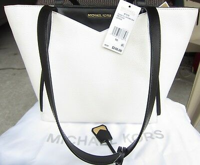 95667fc3303433 Michael Kors M Tote Womens Purse White Pebbled Leather NWT $248 MSRP