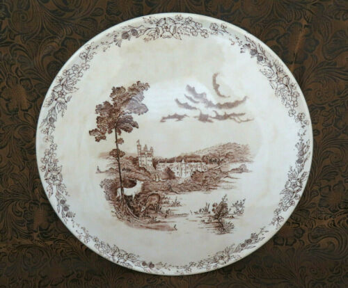 "RARE Barker Bros Tudor Ware ""Balmoral"" Brown Transferware Large Flate Cake Plate"