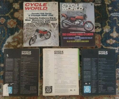 5 1971 Issues of Cycle World Magazine Norton BSA Triumph Honda 71 poor condition