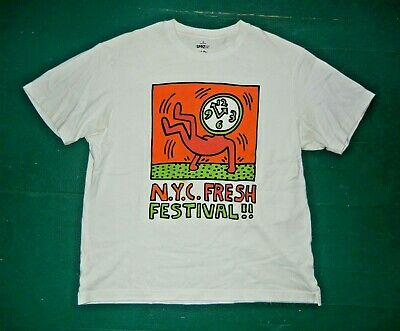 UNIQLO SPRZNY Keith Haring Art NYC FRESH FESTIVAL T-SHIRT Clock Dance Men's XL