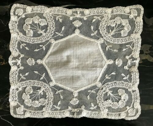 Antique Linen Brussels Bobbin Lace Flower Bouquet Bridal Handkerchief Hankie
