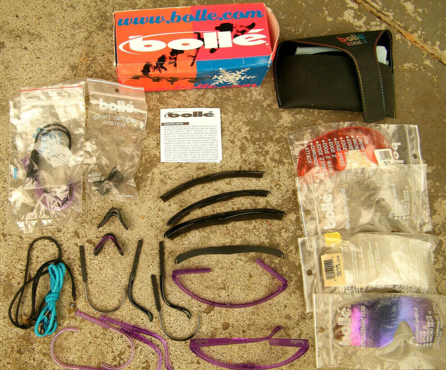 Vintage BOLLE EDGE II Sunglasses Parts Lot Case, Lenses, Nose & Ear Pieces, More