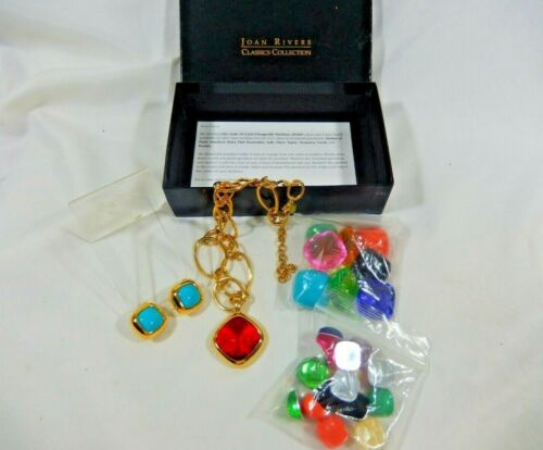 JOAN RIVERS NIB CHIC LINKS 10 COLOR CHANGEABLE NECKLACE AND MATCHING EARRINGS