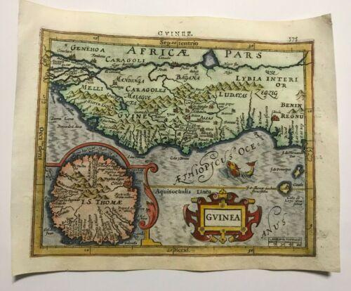 AFRICA GUINEA 1613 MERCATOR / HONDIUS ATLAS MINOR NICE ANTIQUE MAP IN COLORS