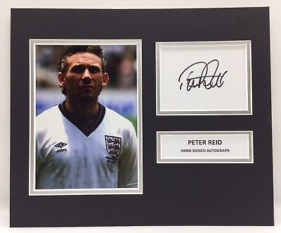 RARE Peter Reid England Signed Photo Display + COA AUTOGRAPH ENGLAND WORLD CUP
