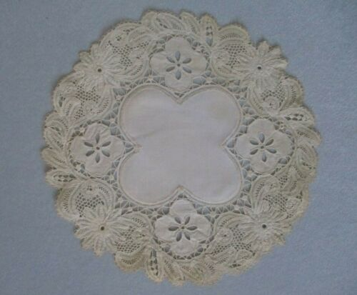 "Antique Vintage 11"" Round Lace Doily Fancy Hand Made Bobbin"