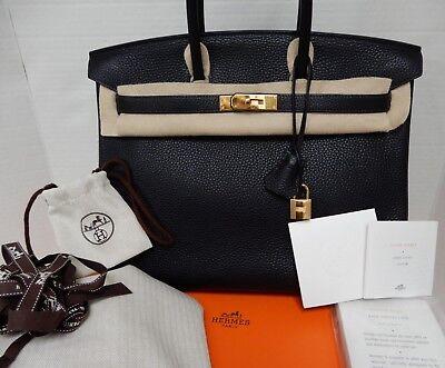 Hermes Birkin 35Cm Midnight Blue Ocean Clemence Bag Gold 2014