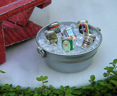Miniature Dollhouse FAIRY GARDEN Accessories ~ Tub with Ice & Beer Cans ~ NEW](Plastic Ice Tubs)